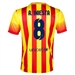 Nike FC Barcelona 'INIESTA 8' '13-'14 Away Soccer Jersey (University Red/Vibrant Yellow)