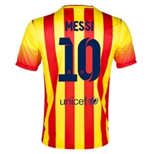 Nike FC Barcelona 'MESSI 10' '13-'14 Away Soccer Jersey (University Red/Vibrant Yellow)