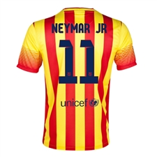 Nike FC Barcelona 'NEYMAR 11' '13-'14 Away Soccer Jersey (University Red/Vibrant Yellow)