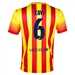 Nike FC Barcelona 'XAVI 6' '13-'14 Away Soccer Jersey (University Red/Vibrant Yellow)