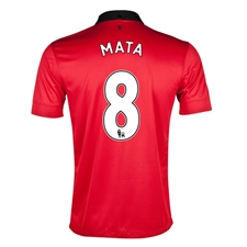 Nike Manchester United 'MATA 8' Home 2013-2014 Replica Soccer Jersey (Diablo Red/White/Black)