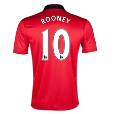 Nike Manchester United 'ROONEY 10' Home 2013-2014 Replica Soccer Jersey (Diablo Red/White/Black)