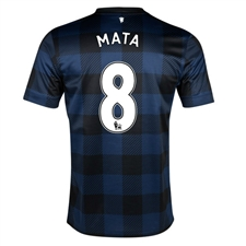 Nike Manchester United 'MATA 8' Away 2013-2014 Replica Soccer Jersey (Midnight Navy/Black/Football White)