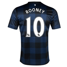 Nike Manchester United 'ROONEY 10' Away 2013-2014 Replica Soccer Jersey (Midnight Navy/Black/Football White)