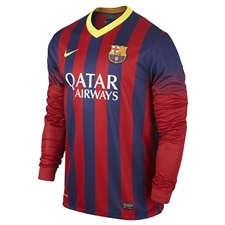 Nike FC Barcelona '13-'14 Home LS Soccer Jersey (Midnight Navy/Storm Red/Tour Yellow)