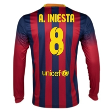 Nike FC Barcelona 'A. INIESTA 8' 2013-2014 Home LS Soccer Jersey (Midnight Navy/Storm Red/Tour Yellow)