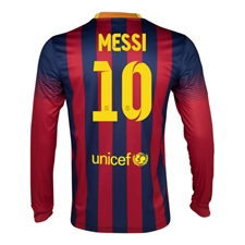 Nike FC Barcelona 'MESSI 10' 2013-2014 Home LS Soccer Jersey (Midnight Navy/Storm Red/Tour Yellow)