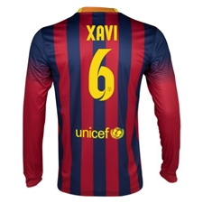 Nike FC Barcelona 'XAVI 6' 2013-2014 Home LS Soccer Jersey (Midnight Navy/Storm Red/Tour Yellow)