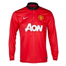 Nike Manchester United Home '13-'14 LS Replica Soccer Jersey (Diablo Red/White/Black)