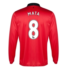 Nike Manchester United 'MATA 8' Home Long Sleeve 2013-2014 Replica Soccer Jersey (Diablo Red/White/Black)