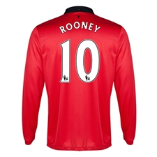 Nike Manchester United 'ROONEY 10' Home Long Sleeve 2013-2014 Replica Soccer Jersey (Diablo Red/White/Black)
