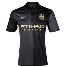 Nike Manchester City Away '13-'14 Replica Soccer Jersey (Black/Dark Charcoal/Jersey Gold)