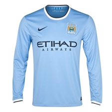 Nike Manchester City Home '13-'14 Long Sleeve Replica Soccer Jersey (Field Blue)