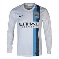 Nike Manchester City Third '13-'14 Long Sleeve Replica Soccer Jersey (Football White/Obsidian)