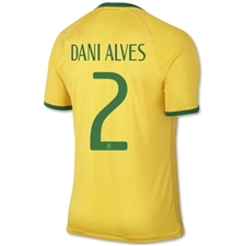 Nike Brasil Home 2014 'DANI ALVES 2' Replica Soccer Jersey (Varsity Maize/Pine Green)