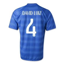 Nike Brasil 2014 'DAVID LUIZ 4' Away Replica Soccer Jersey (Varsity Royal/Football White)