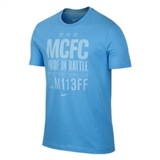 Nike Manchester City Core Plus Tee Shirt (Football Blue/Dark Grey Heather)