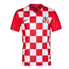 Nike Croatia 2014 Home Soccer Replica Jersey (University Red/Bright Blue)