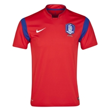 Nike South Korea 2014 Home Replica Soccer Jersey (Challenge Red/Old Royal/White)