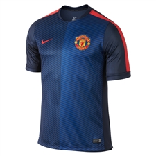 Nike Manchester United Squad Pre-Match Short-Sleeve Soccer Shirt (Midnight Navy/Light Crimson)