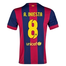 Nike FC Barcelona 'A. INIESTA 8' '14-'15 Home Soccer Jersey (Loyal Blue/Noble Red/Sunlight)