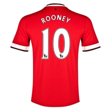 Nike Manchester United 'ROONEY 10' Home '14-'15 Replica Soccer Jersey (Diablo Red/Football White)