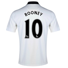 Nike Manchester United 'ROONEY 10' '14-'15 Away Replica Soccer Jersey (Football White/Black/Diablo Red)