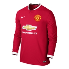 Nike Manchester United Home '14-'15 Long Sleeve Replica Soccer Jersey (Diablo Red/Football White)