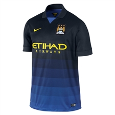 Nike Manchester City Away '14-'15 Replica Soccer Jersey (Dark Obsidian/Game Royal/Vibrant Yellow)