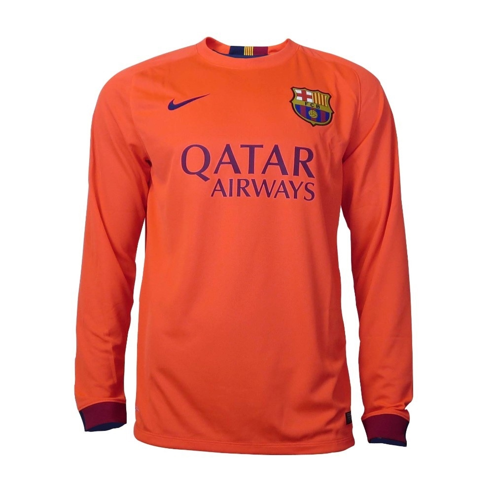 Barcelona Black Jersey Long Sleeve Long Sleeve Soccer Jersey