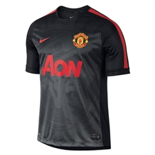 Nike Manchester United Squad Pre-Match Soccer Shirt (Black/Light Crimson)