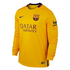 Nike FC Barcelona '15-'16 Long Sleeve Away Stadium Soccer Jersey (University Gold/University Red/Loyal Blue)