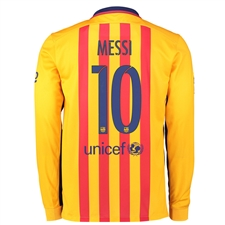 Nike FC Barcelona 'MESSI 10' '15-'16 Long Sleeve Away Stadium Soccer Jersey (University Gold/University Red/Loyal Blue)