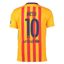 Nike FC Barcelona 'MESSI 10' '15-'16 Away Soccer Stadium Jersey (University Gold/University Red/Loyal Blue)