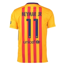 Nike FC Barcelona 'NEYMAR JR 11' '15-'16 Away Soccer Stadium Jersey (University Gold/University Red/Loyal Blue)