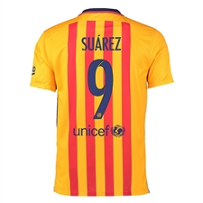 Nike FC Barcelona 'SUAREZ 9' '15-'16 Away Soccer Stadium Jersey (University Gold/University Red/Loyal Blue)