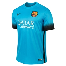 Nike FC Barcelona '15-'16 Third Soccer Jersey (Light Current Blue/Black)