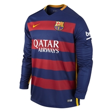 Nike FC Barcelona '15-'16 Home Long Sleeve Soccer Jersey (Loyal Blue/Storm Red/University Gold)