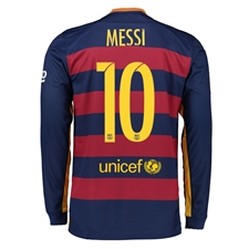 Nike FC Barcelona 'MESSI 10' '15-'16 Home Long Sleeve Soccer Jersey (Loyal Blue/Storm Red/University Gold)