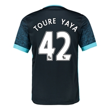 Nike Manchester City 'TOURE YAYA 42' Away '15-'16 Soccer Stadium Jersey (Dark Obsidian/Blue Force/Chlorine)