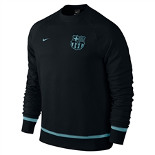 Nike FC Barcelona AW77 Authentic Crew Sweatshirt (Black/Light Current Blue)