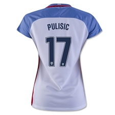 Nike Women's USA 2016 'PULISIC 17' Home Stadium Soccer Jersey (White/Game Royal/Midnight Navy)