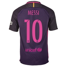 Nike FC Barcelona 'MESSI 10' '16-'17 Away Soccer Stadium Jersey (Purple Dynasty/Hyper Pink)