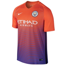 Nike Manchester City Third '16-'17 Soccer Stadium Jersey (Safety Orange/Persian Violet/White)