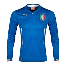 Puma Italy Home 2014 Long Sleeve Replica Soccer Jersey (Team Power Blue)
