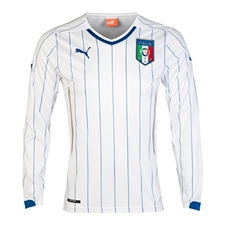 Puma Italy Away 2014 Long Sleeve Replica Soccer Jersey (White/Blue)