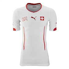Puma Switzerland Away 2014-15 Replica Soccer Jersey (White/Puma Red)