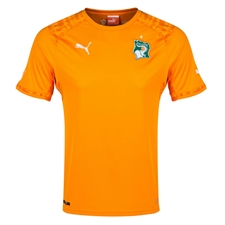 Puma Ivory Coast Home 2014 Replica Soccer Jersey (Flame Orange)