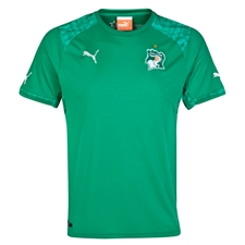 Puma Ivory Coast Away 2014 Replica Soccer Jersey (Pepper Green)