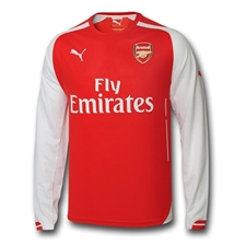 Puma Arsenal Home '14-'15 Long Sleeve Replica Soccer Jersey (High Risk Red/White)